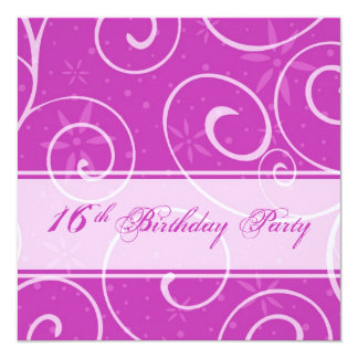 Pink Swirls 16th Birthday Party Invitation Cards