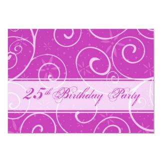 Pink Swirls 25th Birthday Party Invitation Cards