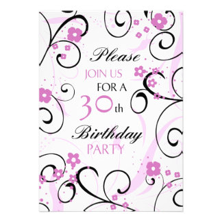 Pink Swirls 30th Birthday Party Invitation Card
