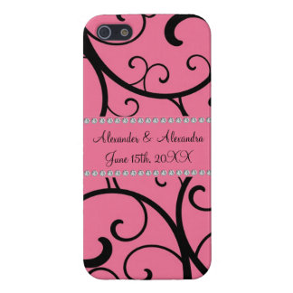 Pink swirls and diamonds wedding favors iPhone 5 cover