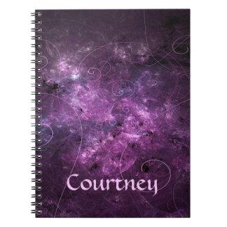 Pink Swirls Fractal Spiral Bound Notebook