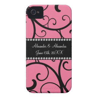pink swirls wedding favors iPhone 4 Case-Mate cases
