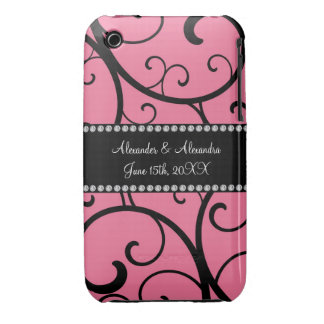 pink swirls wedding favors Case-Mate iPhone 3 case