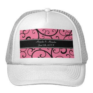 pink swirls wedding favors trucker hats