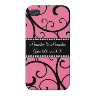 pink swirls wedding favors iPhone 4 covers