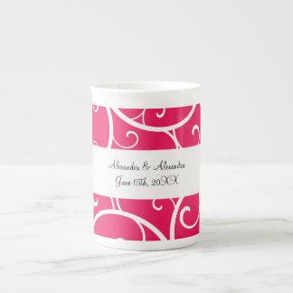 Pink swirls wedding favors porcelain mugs