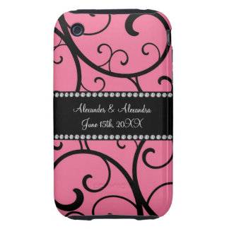pink swirls wedding favors tough iPhone 3 covers
