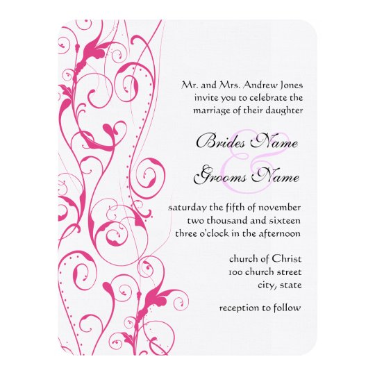 Pink Swirls Wedding Invitations Budget Sized Small