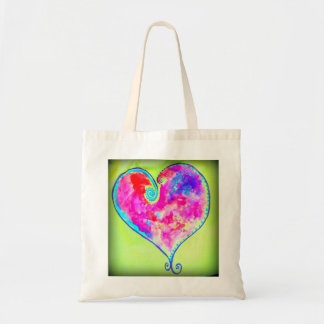 pink swirly heart budget tote bag