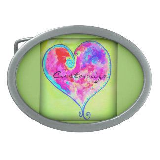 pink swirly heart Thunder_Cove Oval Belt Buckles