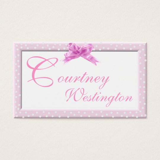 Pink Swiss Dot Calling Card
