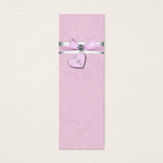 Pink Swril Heart Pink Cross Bomboniere Tags Mini Business Card