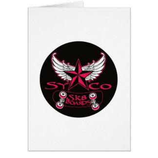 pink syco sk8 angel wings greeting card