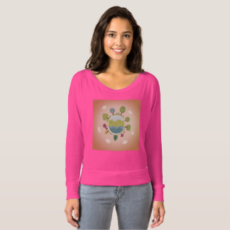 Pink t-shirt for woman with Globe