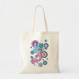 Pink Tailfin Mermaid Circles Design Budget Tote Bag