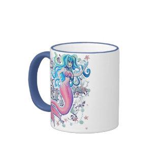 Pink Tailfin Mermaid Ringer Mug