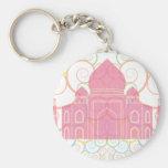 Pink Taj Mahal Basic Round Button Key Ring