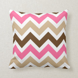 Pink, Tan, and Brown Chevron Pattern Cushion