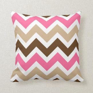 Pink Tan and Brown Chevron Pattern Pillows