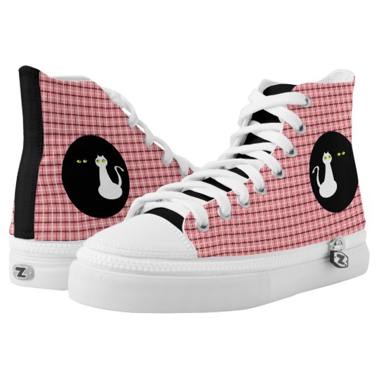 Pink Tartan Love Cats Black White Girly Cool Chic Printed Shoes