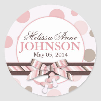 Pink & Taupe Polka Dots Announcement Round Stickers