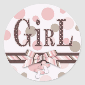 Pink & Taupe Polka Dots Baby Shower Stickers