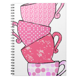 Pink Tea Cup Stack Notebooks