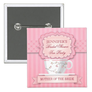 Pink Tea Party Bridal Shower Button
