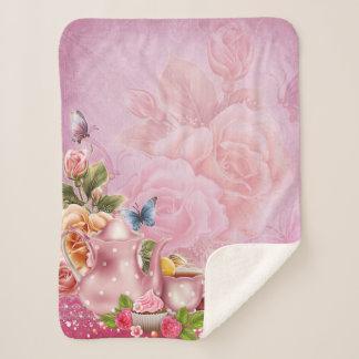 Pink Tea Party Small Sherpa Fleece Blanket