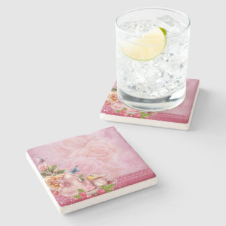 Pink Tea Party Stone Coaster