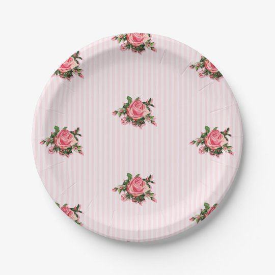 Pink Tea Roses Paper Plate 7 Inch Paper Plate