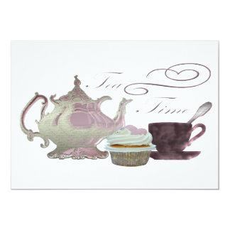 Pink Tea Time Invitiation 13 Cm X 18 Cm Invitation Card