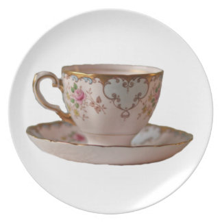 Pink Teacup and Saucer with Roses Plate