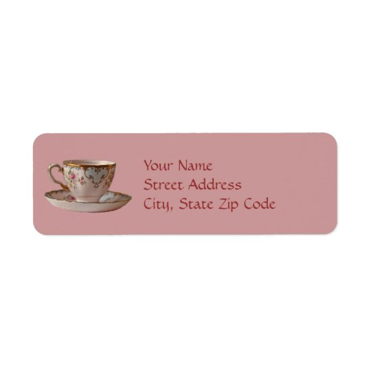 Pink Teacup and Saucer with Roses Return Address Label