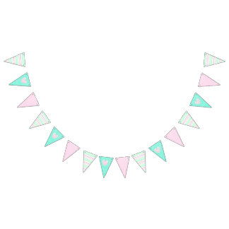 Pink, Teal and Striped Heart Flag Banner