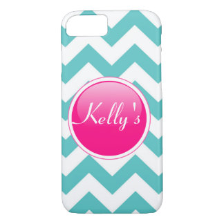 Pink, teal and white iPhone 7 case