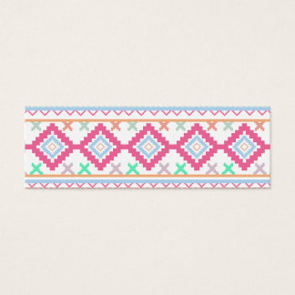 Pink teal Aztec Tribal Diamond geometric Pattern Mini Business Card
