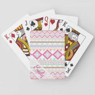 Pink teal Aztec Tribal Monogram geometric Pattern Playing Cards