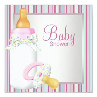 Pink Teal Baby Bottle Pacifier Baby Girl Shower Card