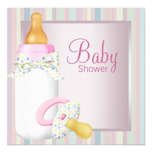 Pink Teal Baby Bottle Pacifier Baby Girl Shower Invites
