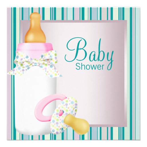 Pink Teal Baby Bottle Pacifier Baby Girl Shower Personalized Invite