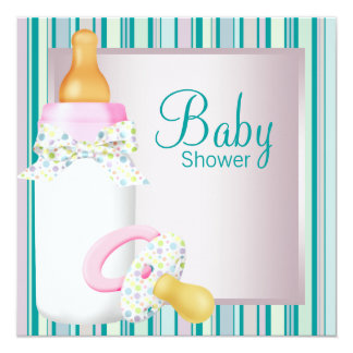 """Pink Teal Baby Bottle Pacifier Baby Girl Shower 5.25"""" Square Invitation Card"""
