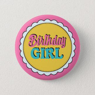 Pink & Teal Birthday Girl 6 Cm Round Badge