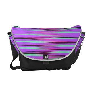 Pink, Teal, Black, & Purple Stripes Messenger Bags
