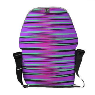 Pink Teal Black Purple Stripes Courier Bag