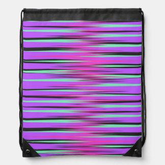Pink Teal Black Purple Stripes Cinch Bag