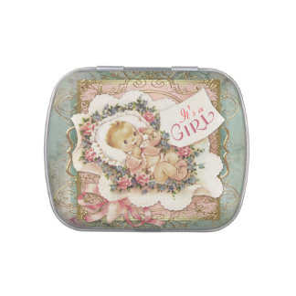 Pink Teal Blue and Gold Vintage Girl Baby Shower Jelly Belly Candy Tins