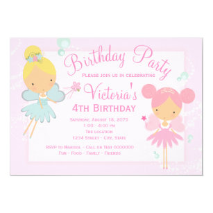 Pink Teal Blue Fairy Princess Girl Birthday Party Invitation