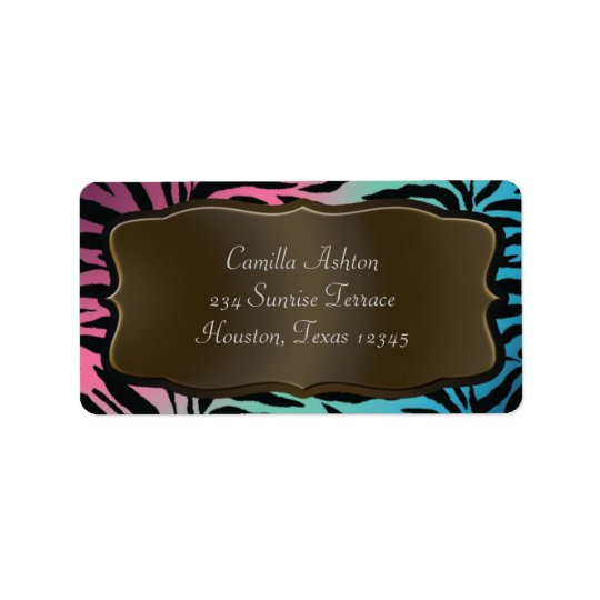 Pink Teal Blue Zebra Address Labels