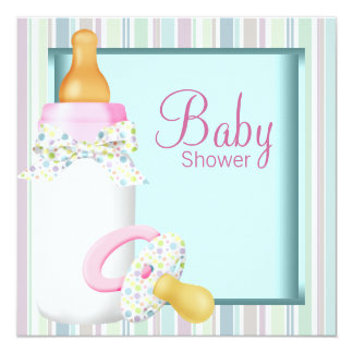 Pink Teal Bottle and Pacifier Baby Shower Invite